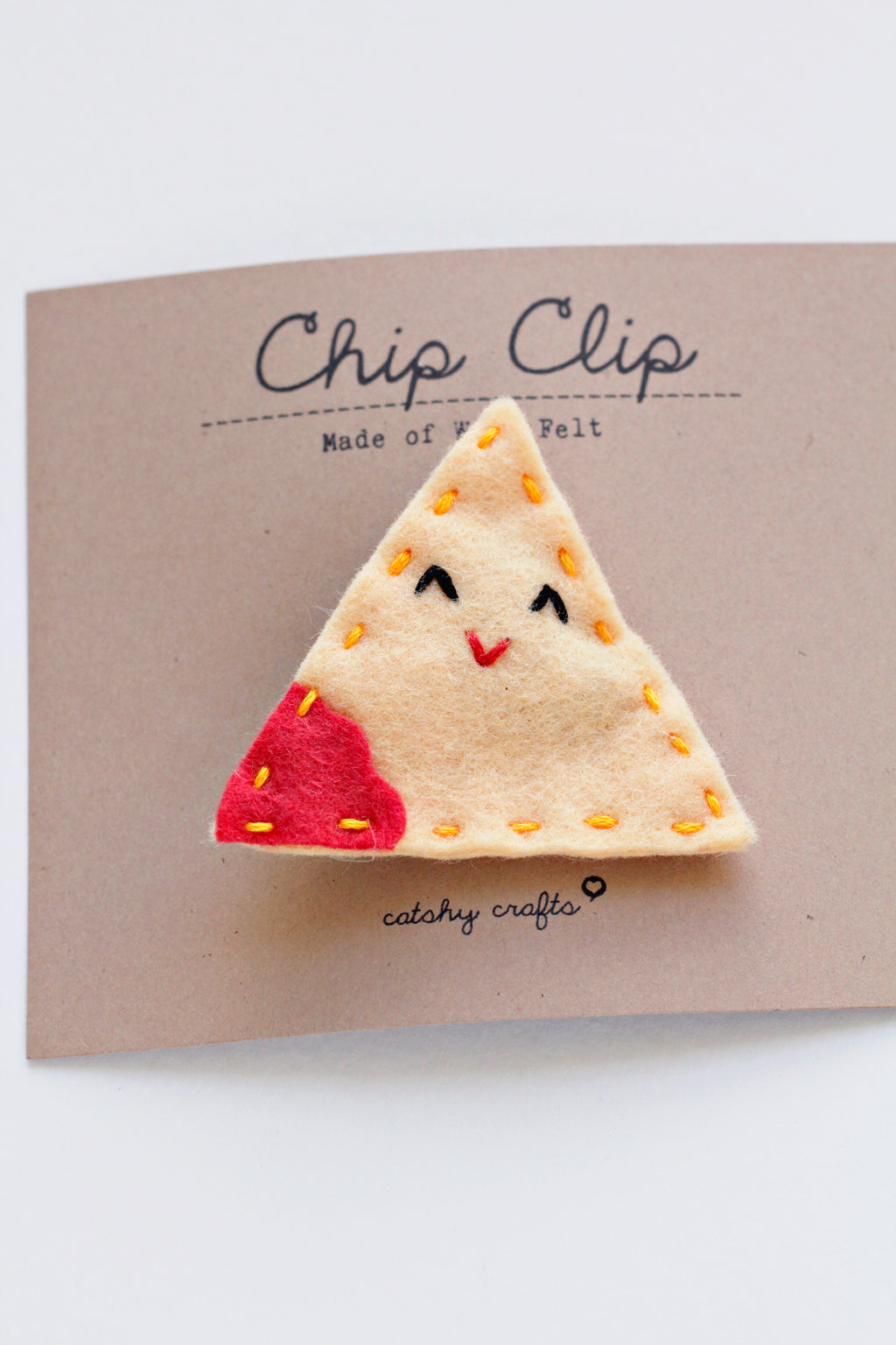 Tortilla Chip Embroidered Hair Clip