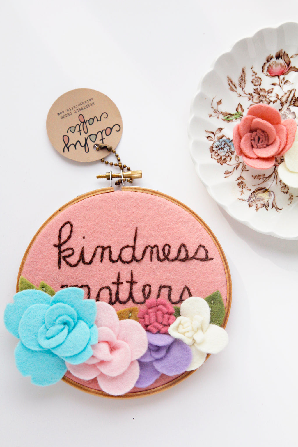 Kindness Matters Felt Flower Embroidery Hoop Art