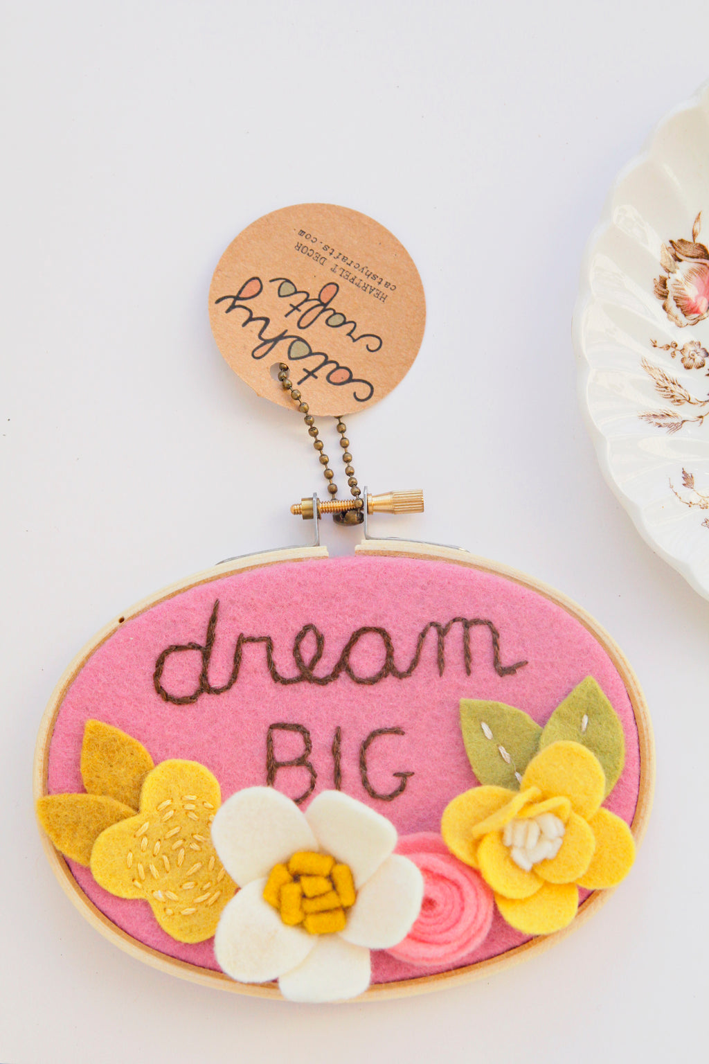 Dream Big Felt Flower Embroidery Hoop Art 3 x 5