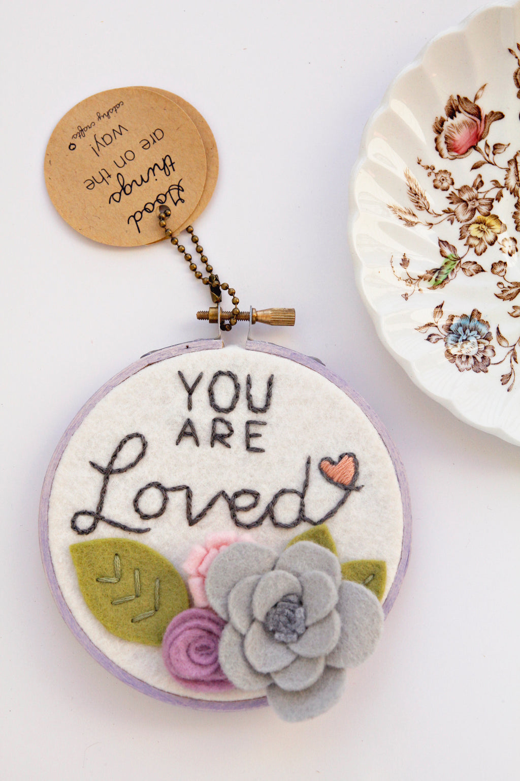 You Are Loved (Lavender) Embroidery Hoop Art