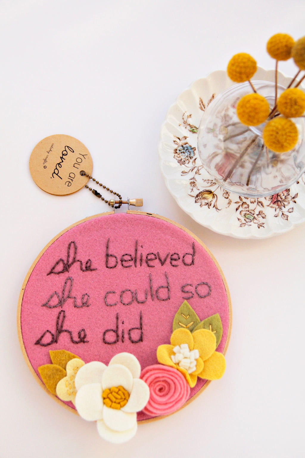 "She Believed She Could So She Did - 6"" Embroidery Hoop Art"