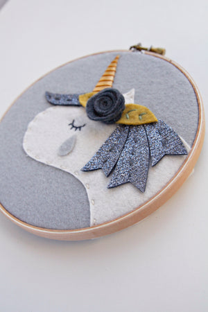 Crying Unicorn Embroidery Hoop Art