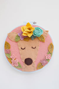 Deer with Flower Crown Embroidery Hoop Art