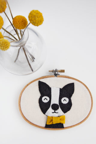 Dog with Bowtie Embroidery Hoop Art