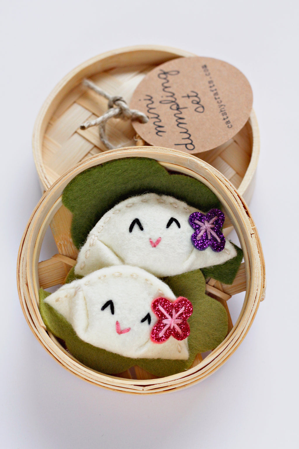 Set of Two Felt Dumplings in Bamboo Steamer