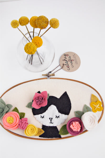 Floral Cat Embroidery Hoop Art