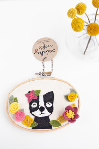 Boston Terrier Embroidery Hoop Art with Felt Flowers