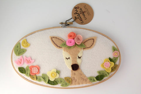 Deer Wall Art - Felt Hoop Art - Meditating / Sleepy Deer Art - Bohemian
