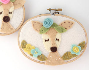 Deer with Blue and Yellow Flowers Embroidery Hoop Art