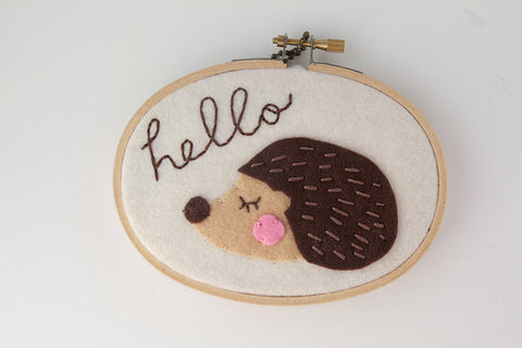 Hedgehog Wall Art - Felt Hoop Art - Meditating / Sleepy Hedgehog Art - Hello Sign