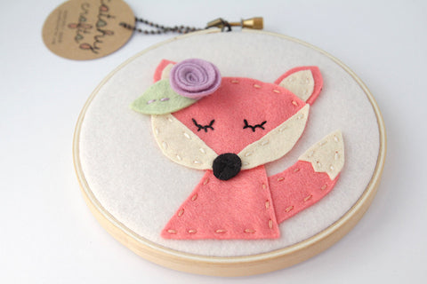 Fox Wall Art - Coral Felt Hoop Art - Meditating / Sleepy Fox Art