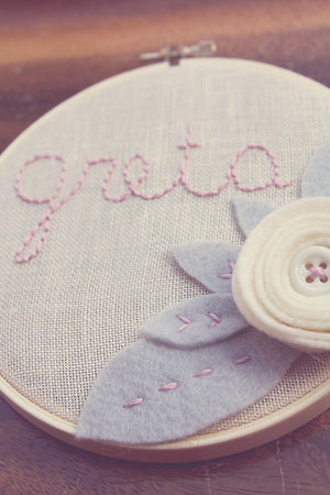 Nursery Name Sign - Grey and White  - 3D Wall Art - Embroidery Hoop  Art -  Custom Name Sign - Cursive Name Sign - Baby Name Embroidery