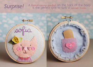 Nursery Name Sign - Cat Embroidery Hoop  Art - Pink and Grey Nursery  Wall Art - 3D Wall Art - Cursive Name Sign - Baby Shower Gift