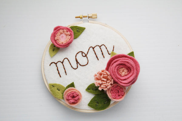 Mom Sign - Nursery Name Sign - Personalized Embroidery Hoop Art - Cursive Name Sign - Baby Shower Gift - Baby Name Embroidery - 3D Wall Art