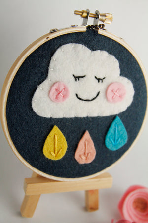 Happy Rain Cloud Embroidery Hoop Art