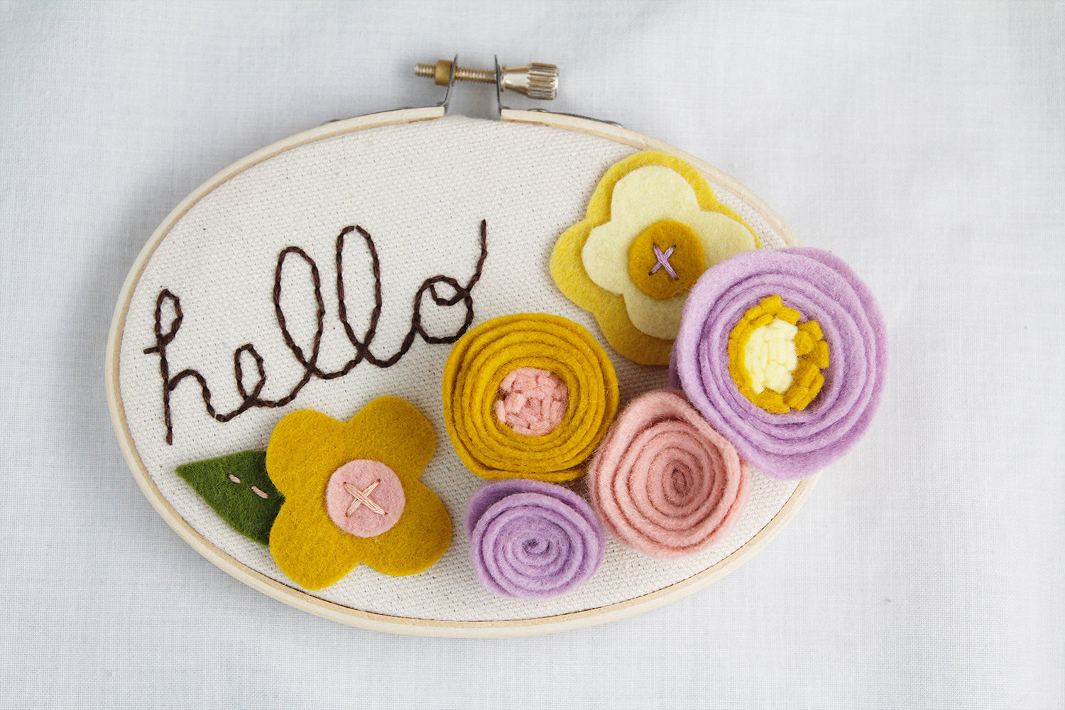 Floral Nursery Wall Art - 3D Wall Art - Hello Sign - Embroidery Hoop ...