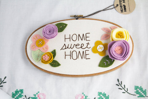 3D Wall Art - Floral Embroidery Hoop Art - Housewarming Gift - Home Sweet Home - Felt Flowers