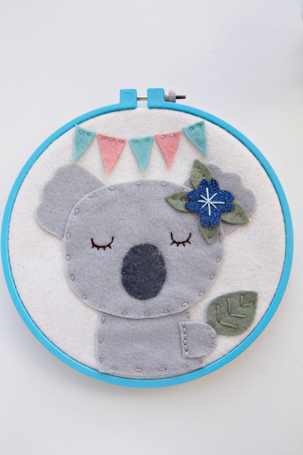 Koala with Leaf and Bunting in Turquoise Hoop