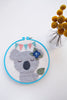 Koala with Leaf and Bunting in Turquoise Hoop / DCS Collection
