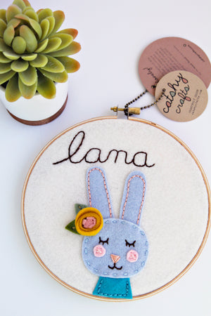 Personalized Bunny Embroidery Hoop Art