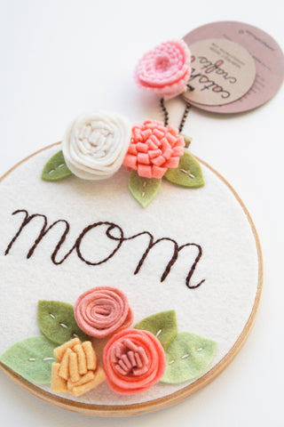 Mom Embroidery Hoop Art with Coral and White Felt Flowers