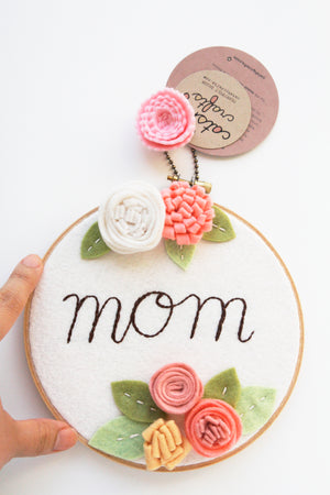 Mom Personalized Embroidery Hoop Art with Coral and White Felt Flowers
