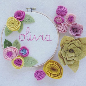 Personalized Embroidery Hoop Art with Pink Flowers
