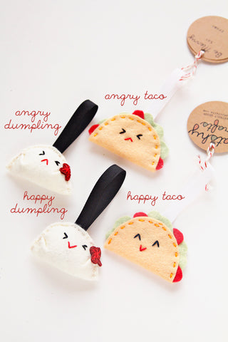 Taco or Dumpling Felt Ornament