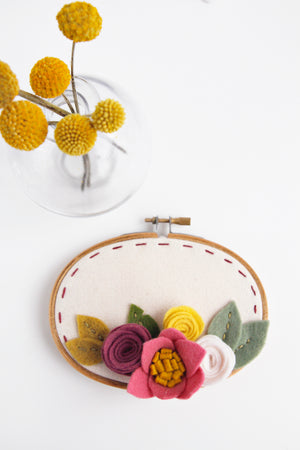 Oval Floral Embroidery Hoop Art with Stitched Lines