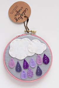Purple Ombre Rain Embroidery Hoop Art