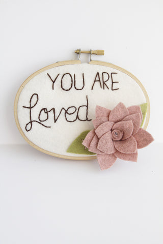 NEW! You Are Loved Rose Succulent Wall Art