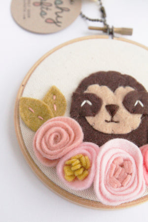 Sloth Embroidery Hoop Art with Pink Felt Flowers