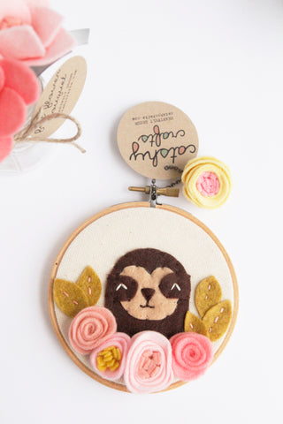 Adorable Sloth Wall Art with Pink Felt Flowers