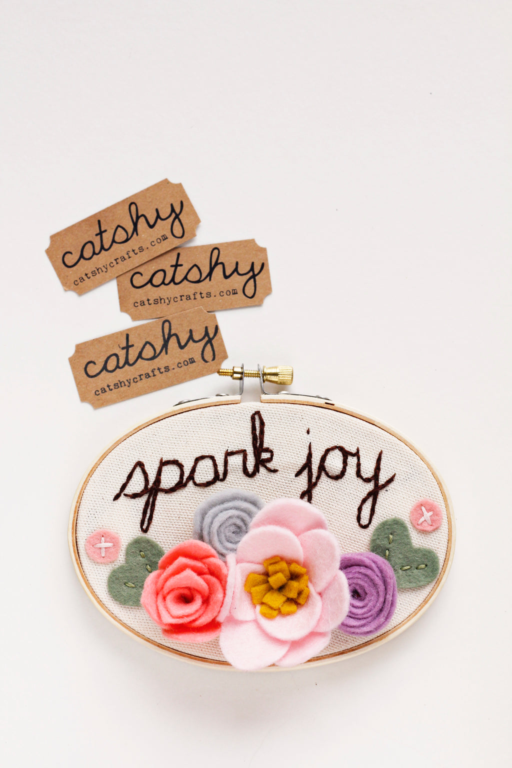 Spark Joy Felt Flower Embroidery Hoop Art
