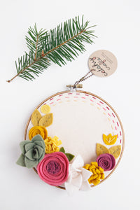 Round Floral Embroidery Hoop Art with Stitched Lines