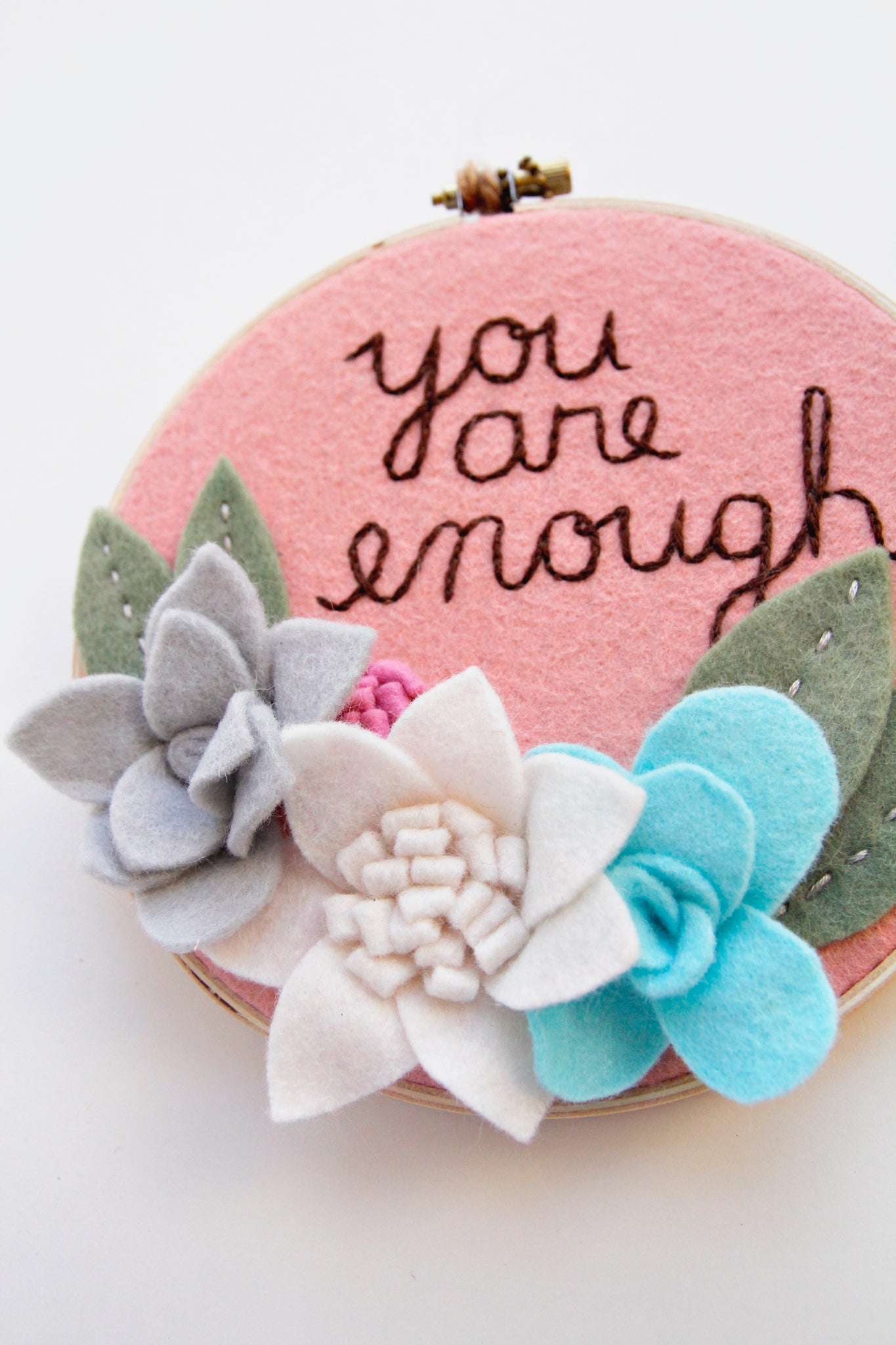 You Are Enough / Felt Flower Hoop / DCS Collection