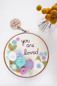 You Are Loved Hoop Art with Blue and Purple Felt Flowers / DCS Collection