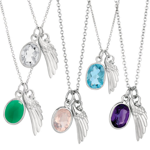 Angel Wing and Gemstone Pendant Necklace
