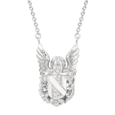 Archangel Michael Hand Carved Sterling Silver Necklace