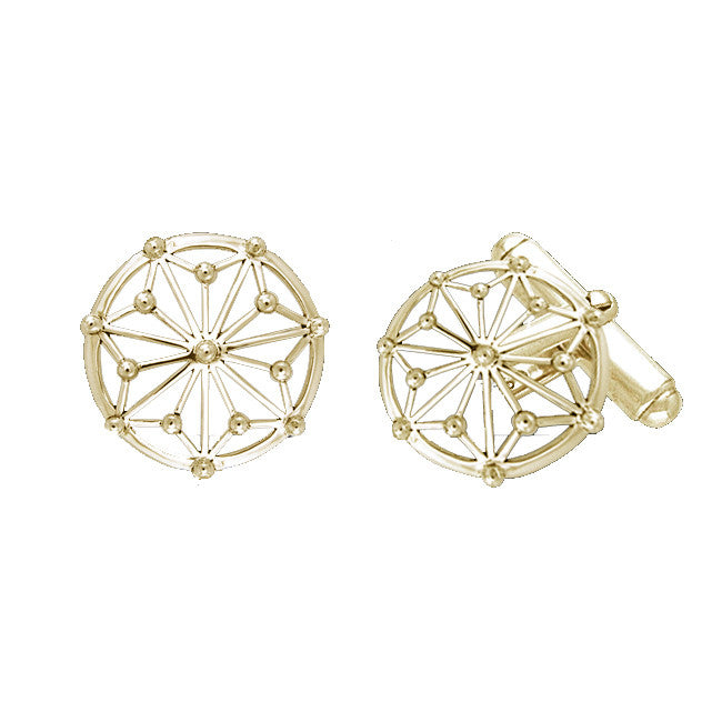 GIN 14K Gold Plated Tetragram Cufflinks