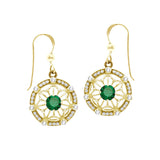 GIN 14K Gold Plated Tetra Ear Ring Set (Emerald Glass)