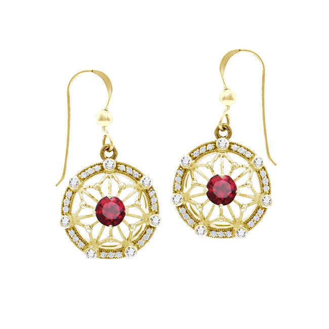 GIN 14K Gold Plated System Ear Ring Set (Created Ruby)