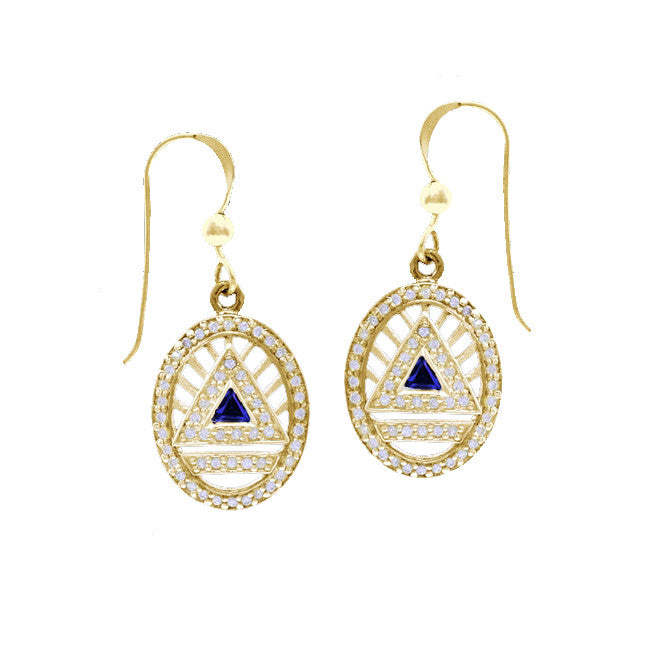 GIN 14K Gold Plated System Ear Ring Set (Created Sapphire)