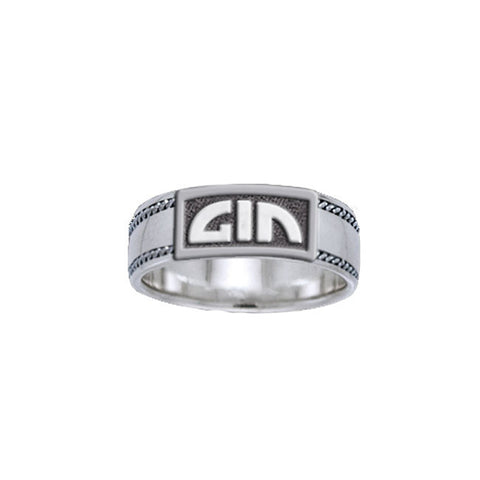 GIN Logo Notch Silver Ring