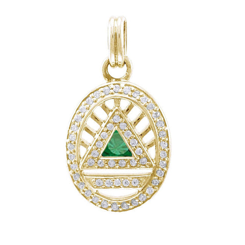 GIN 14K Gold Plated System Pendant (Emerald Glass)