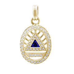 GIN 14K Gold Plated System Pendant (Created Sapphire)