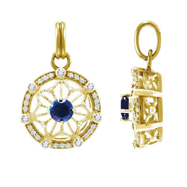 GIN 14K Gold Plated Tetra Pendant (Created Sapphire)