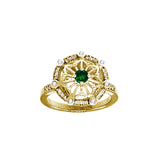 GIN 14K Gold Plated Tetra Ring (Emerald Glass)