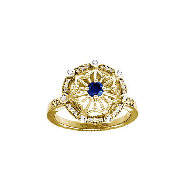 GIN 14K Gold Plated Tetra Ring (Created Sapphire)