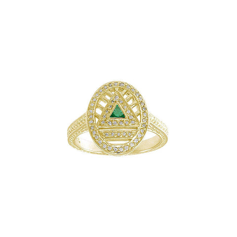 GIN 14K Gold Plated System Ring (Emerald Glass)